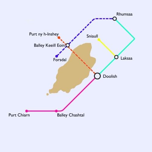 Mapa de rathaidean-iarinn Mhanainn mar a tha is mar a bha iad