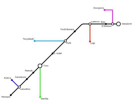 Mapa de rathaidean-iarainn na Cùirne (prìomh stèiseanan a-mhàin)